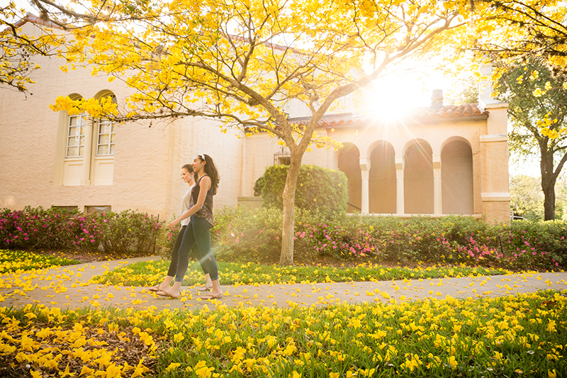 Two female students walking on a sunny college campus.