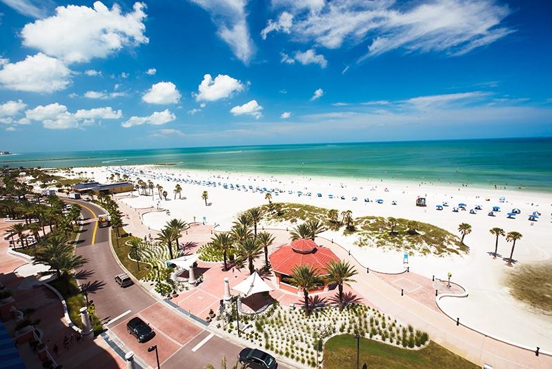 Aerial photo of white-sand beach in Clearwater Beach, Florida.