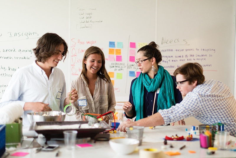 College students brainstorm at Florida Hospital's Innovation Lab.