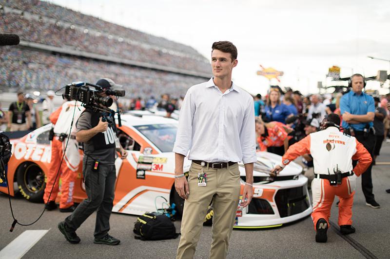 Student intern working at the Daytona 500 at Daytona International Speedway.